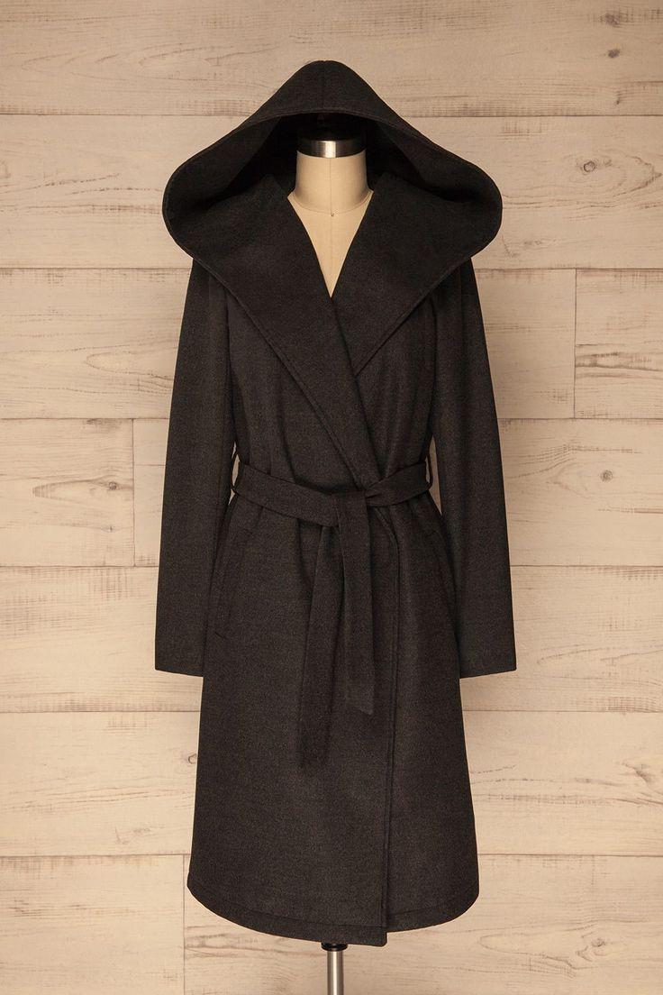 Tarces Night Dark Grey Hooded Trench Coat   La Petite Garçonne