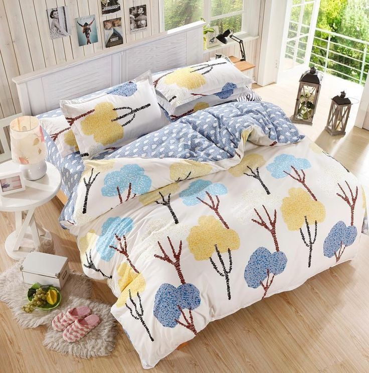forest tree single double queen king size bed set pillowcases quilt duvet cover - Queen Size Duvet Cover