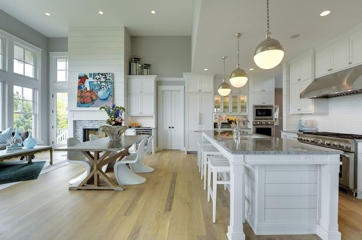fantastic open kitchen & floor plan | shiplap paneled walls & island