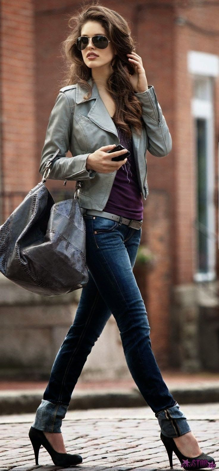 Love this Look! Love the Neutral Gray Jacket + Bag with the Burgundy Wine Contrast Top! Street Styles Grey Leather Jacket + Gray Oversized Bag