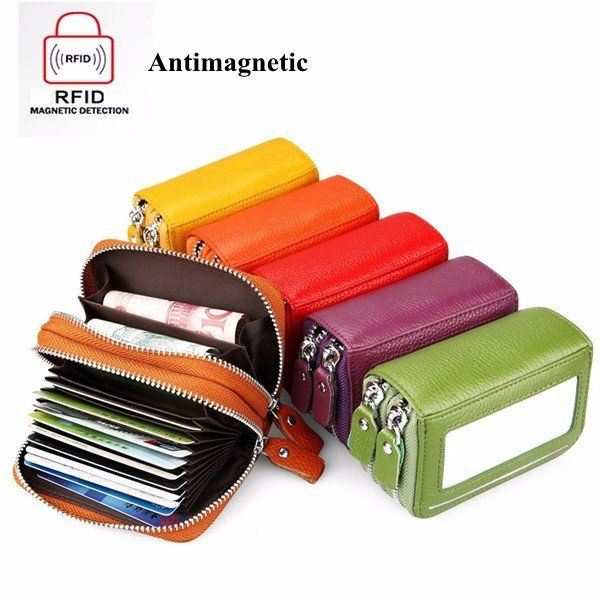 $13.54 RFID Antimagnetic Genuine Leather 11 Colors 11 Card Slots Card Holder Purse