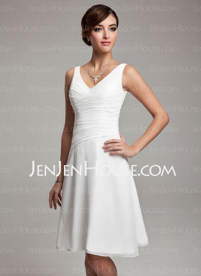 Bridesmaid Dresses - $92.99 - A-Line/Princess V-neck Knee-Length Chiffon Bridesmaid Dress With Ruffle Beading (007001083) http://jenjenhouse.com/A-Line-Princess-V-neck-Knee-Length-Chiffon-Bridesmaid-Dresses-With-Ruffle-Beading-007001083-g1083/?utm_source=crtrem_campaign=crtrem_US_20898