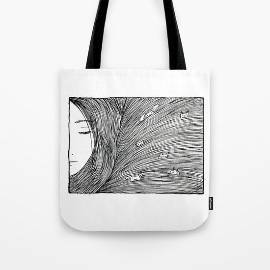 'Separated' illustrated Tote Bag by Studio Groenling at Society6.com.