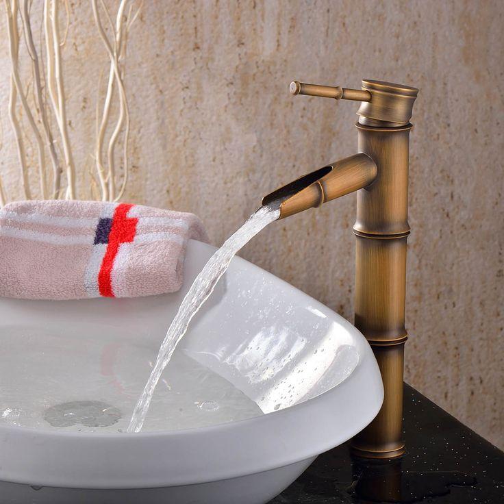 Lightinthebox® Single Handle Deck Mount Bathroom Bamboo Vessel Sink Faucet Bronze Antique Brass Tall Spout Bath Tub Mixer Taps Bathtub Faucet Bamboo Shape Single Hole Lavatory Unique Designer Cheap Discount Plumbing Fixtures