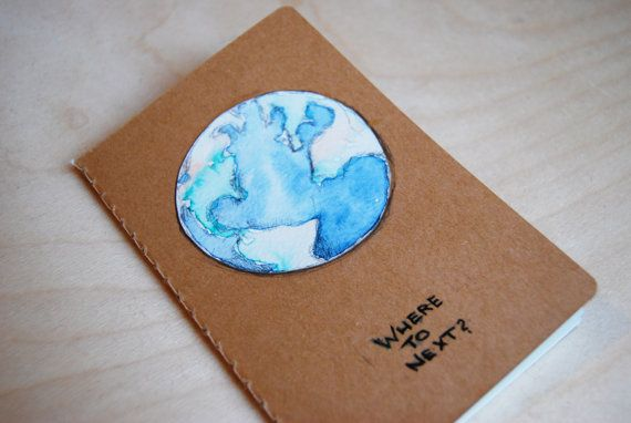 Travel Journal  Globe /  watercolors by WAIQ on Etsy