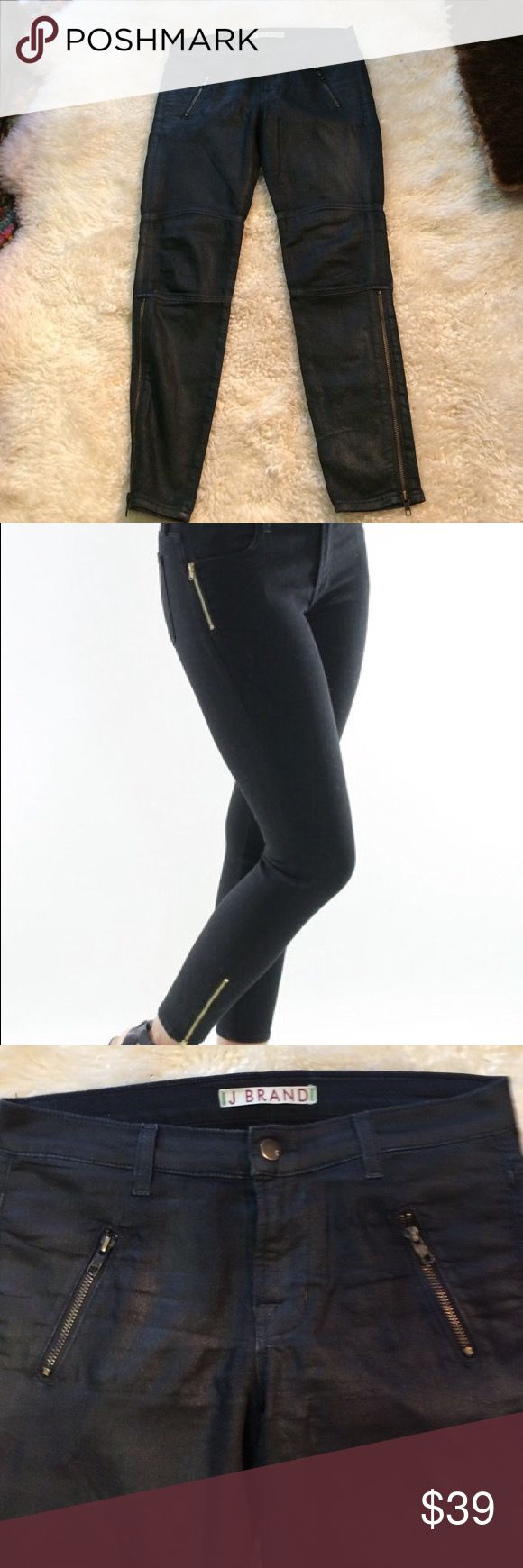 """🎉 j Brand Zipper Skinny👖Size 27 comfy stretch The Zipper Skinny Jean by J Brand is edgy with gold zip accents in vanity. Cropped style. Features four pocket styling with zip fly and one button closure. Gold hardware. The essential black jean. 9.5 inch front rise. 28""""inseam measured   92.5 percent cotton 5 % polyester 2.5% Made in the USA.  There is no label contents the information about was taken from the Internet on the J. brand site J Brand Jeans Skinny"""