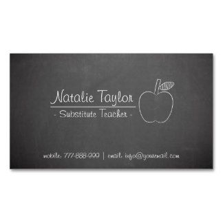 Chalkboard Apple Substitute Teacher Business Cards