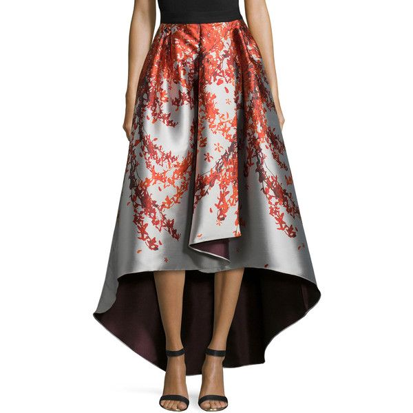 "Sachin & Babi Noir.  Kishi High-Low Printed Ball Skirt.  NOIR Sachin & Babi ""Kishi"" skirt in floral print.  Solid banded waist.  Refined pleats.  Faux-wrap fro…"