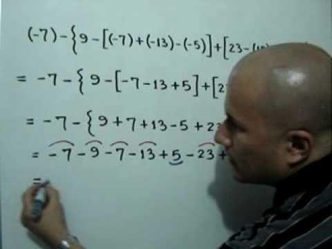 Tres ejemplos de polinomios aritméticos con signos de agrupación: Julio Rios explica tres ejercicios sobre polinomios aritméticos donde hay signos de agrupación (paréntesis, corchetes y llaves)