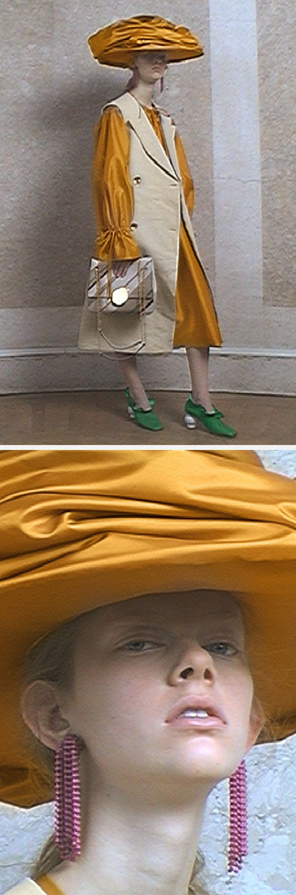 Archetypes of Englishness inspire the Mulberry SS18 collection. Cherry Dress in Saffron Silk Taffeta, Draped Pump in Earth Yellow Satin, Small Amberley Satchel Bag in Earth Yellow Smooth Calf Leather, Face Stone Earrings in Yellow Brass Metal with Enamel Swarovski Pearls.