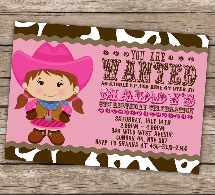 birthday party invitations printable%0A Printable Cowgirl Invitation and Cupcake Topper Set