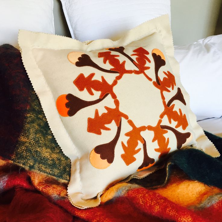 """All the leaves are brown"" Tivaevae inspired Autumn cushion pure wool applique and embroidery kit available @ birdiebrown.co.nz #embroidery #applique"