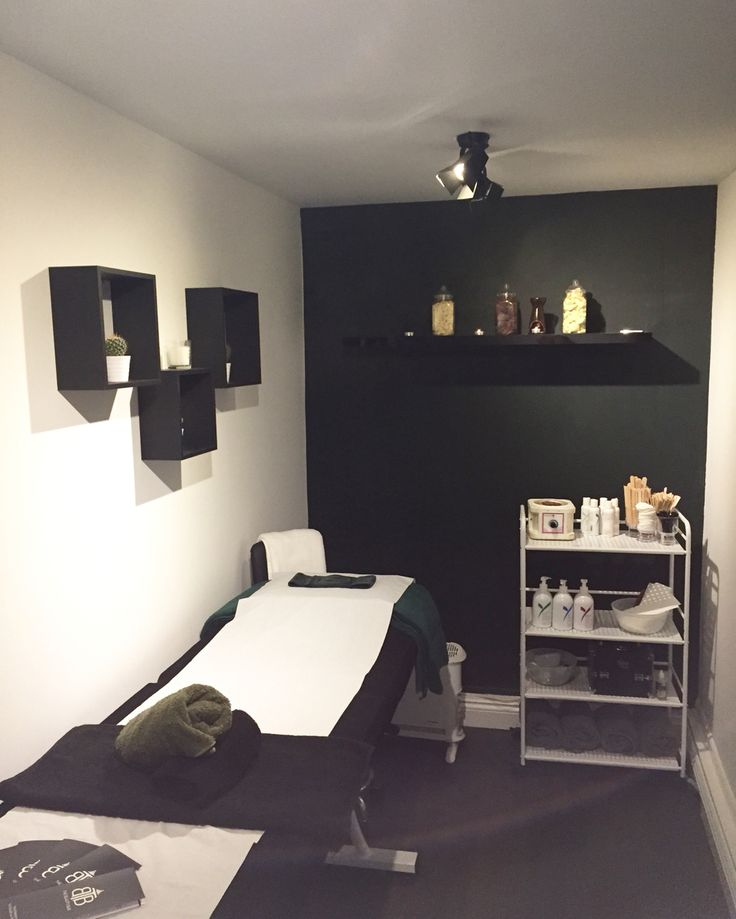 Treatment Room  Directors Lights Cactus Studio Green M&S Egyptian Cotton Towels Glittery Sideboard Black Blind Lycon Wax Eyelash Emporium  Apocothery Jars filled with Wax
