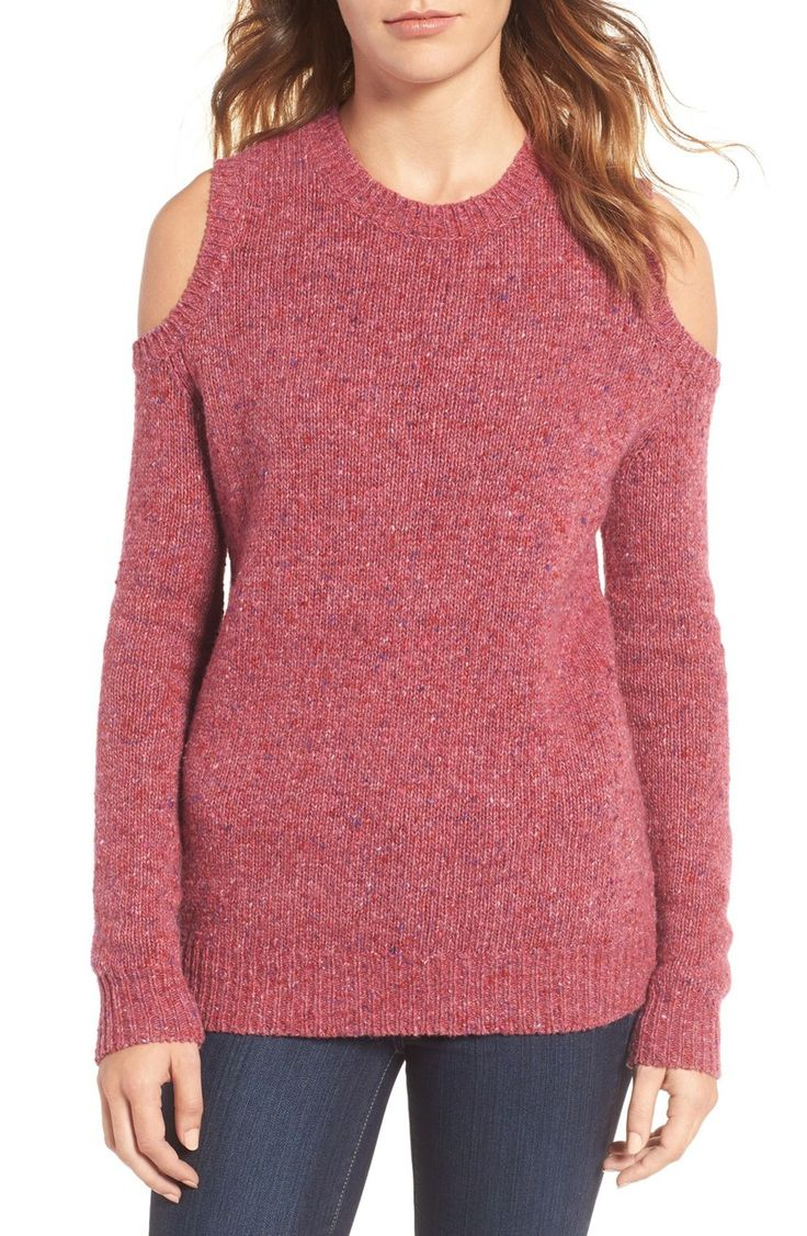 Baring shoulders in this warm and cozy sweater knit with lots of merino wool by Rebecca Minkoff.