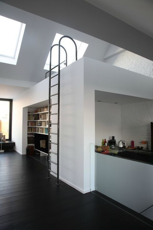 metal ladder to the loft bedroom
