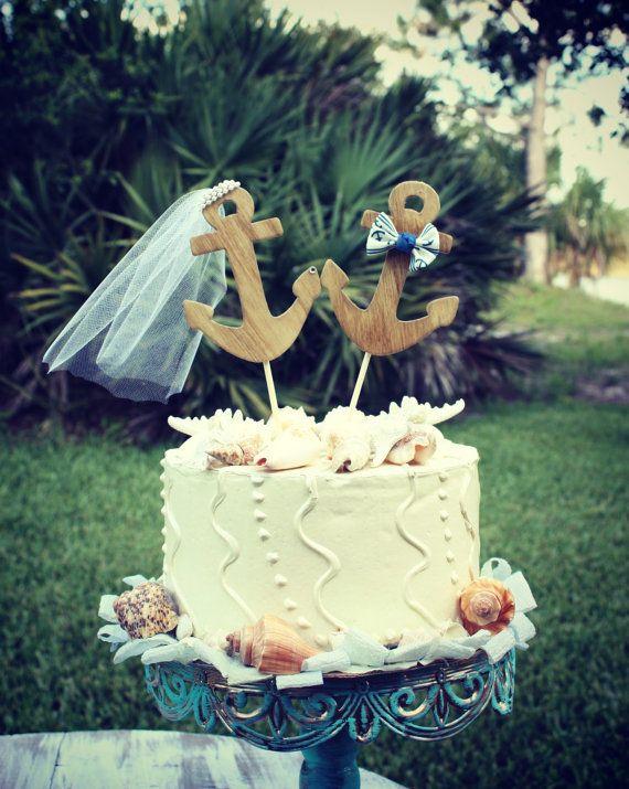 Nautical wedding cake topperanchor wedding by MorganTheCreator, $32.00