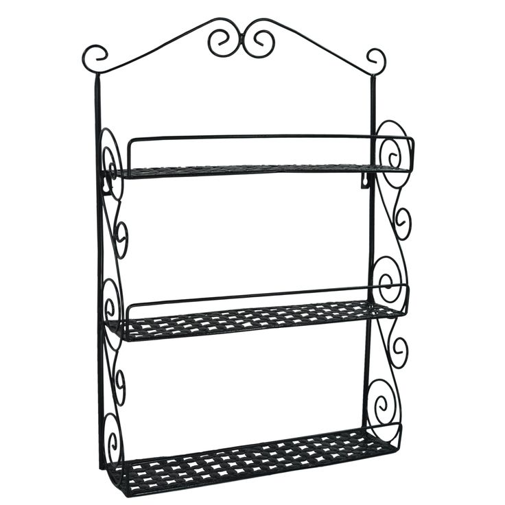 24 Inch Tall Classic Elegant Large Black Metal Wall Mounted Shelves Kitchen  Spice Rack / Bathroom