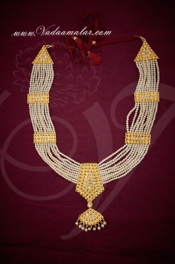 Long Pearl Necklace with Pendant White Stones Set Kathak Designs