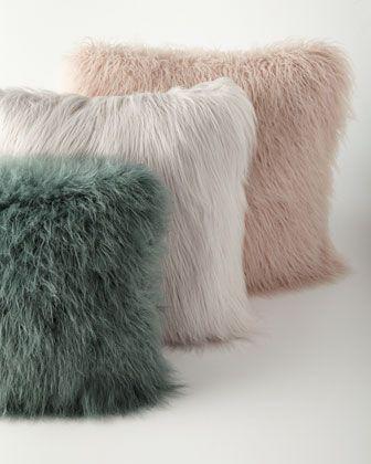 """Khan Faux-Fur Pillows at Horchow. mauve, 24"""" $125"""