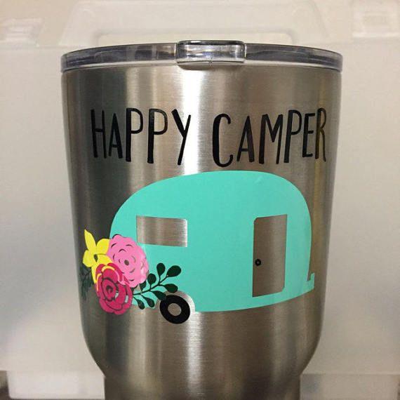 Happy Camper Decal, Happy Camper Gift, Happy Camper, Vintage Happy Camper, Custom Yeti Decal, Camper Decal, Camping Car decal, Yeti Decal