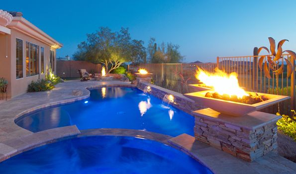 43 best images about fire pits fireplaces fire features for Fire features for swimming pools