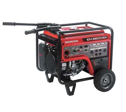 """Honda EM6500SXK2AT. 6500 watts 120V/240V (54.2/27.1A). """"Surges"""" 7000watts for 10 seconds to start larger equipment. Powers fridge, freezer, furnace, well pump and much more. Long run time - up to 10.4 hrs. Powerful Honda iGX commercial engine. Electric start (battery included) with recoil backup."""