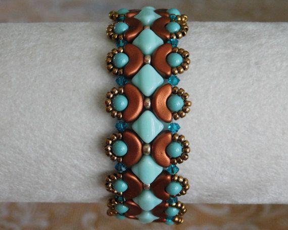 Beaded Bracelet Tutorial, Bead Pattern, Arcos Beads, Silky Beads, Swarovski Bicone, Beadweaving, Beading Instructions, Glass Beads, PDF