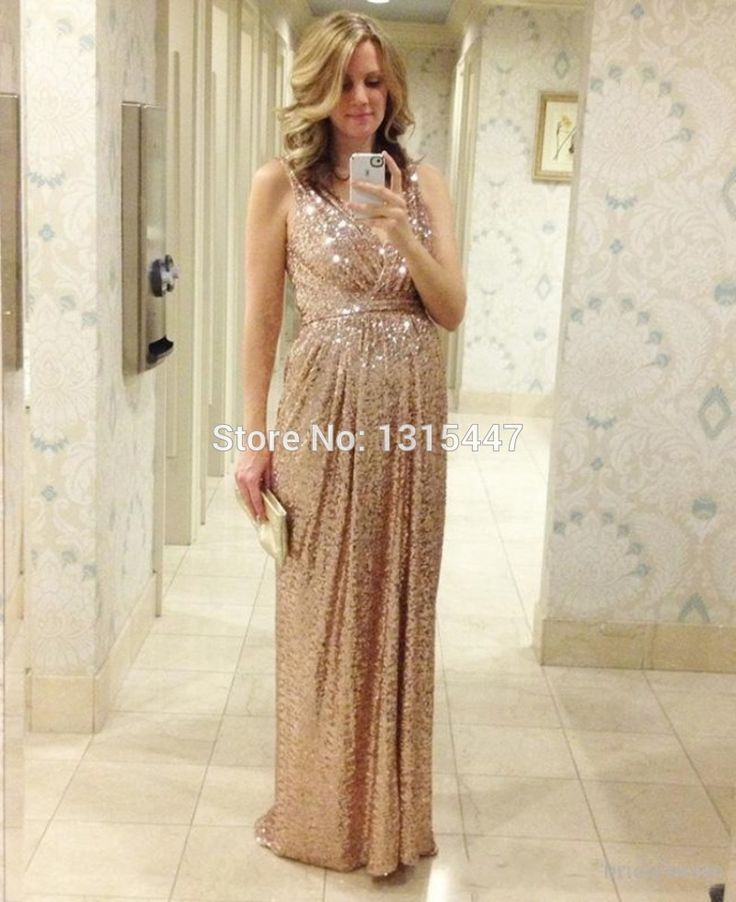Sparkly Sequined Formal Maternity Evening Dresses 2015 Hot Sale Empire Waist Elegant Champagne Prom Long Dresses With V Neckline-in Evening Dresses from Weddings & Events on Aliexpress.com | Alibaba Group
