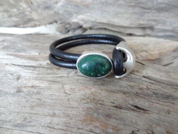 Black Leather Bracelet Green Agate Bracelet Leather Jewelry
