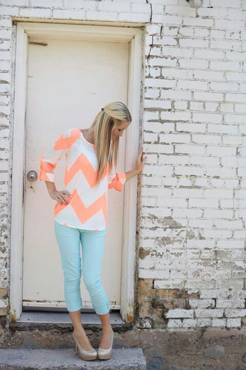 pastel chevron top, chevron jeans, and heels.