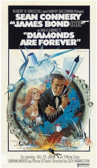James Bond Diamonds Are Forever one sheet movie poster. Art by Robert McGinnis. Rejected concept