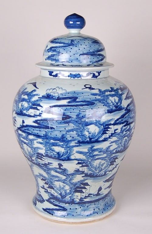 Large Blue and White Canton River Scene Jar from The Well Appointed House