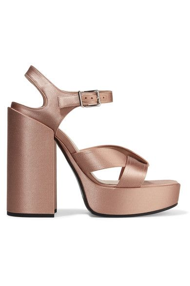 Heel measures approximately 120mm/ 5 inches with a 30mm/ 1 inch platform Antique-rose satin Buckle-fastening ankle strap Made in Italy