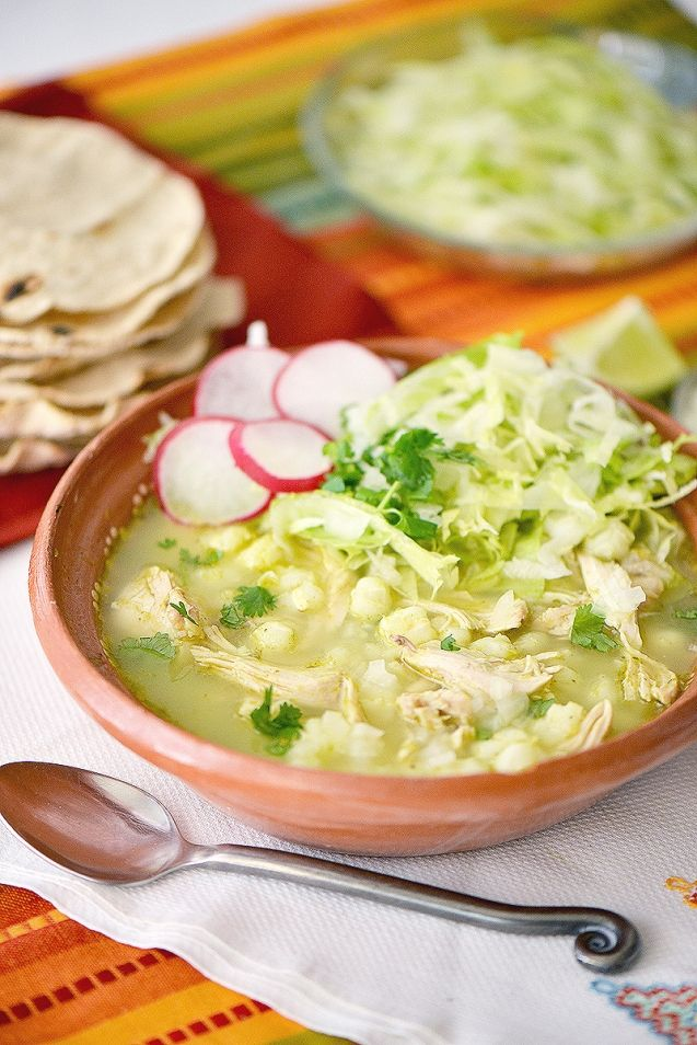 Green Pozole with Chicken (or Turkey)