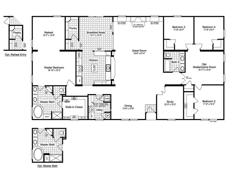 The Evolution SCWD76X3 Home Floor Plan | Manufactured and/or Modular Floor Triple Wide Plans available floor plan