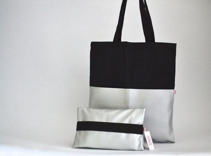 Stoffbeutel - Set Shopper & Wickeltasche schwarz silber - ein…