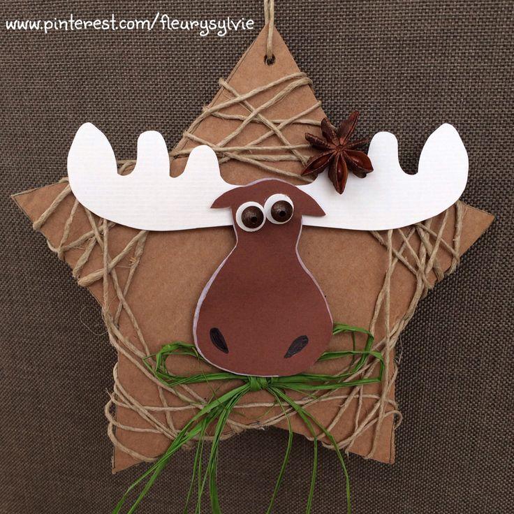 Bricolage enfant pour Noël, une étoile en carton.   http://pinterest.com/fleurysylvie/mes-creas-pour-les-kids/