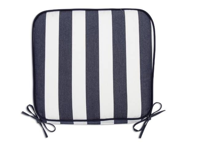 Maxim Nantucket Stripe Seat Pad Cushion 18x20x4 Tapered with Double Navy Welt Sunbrella