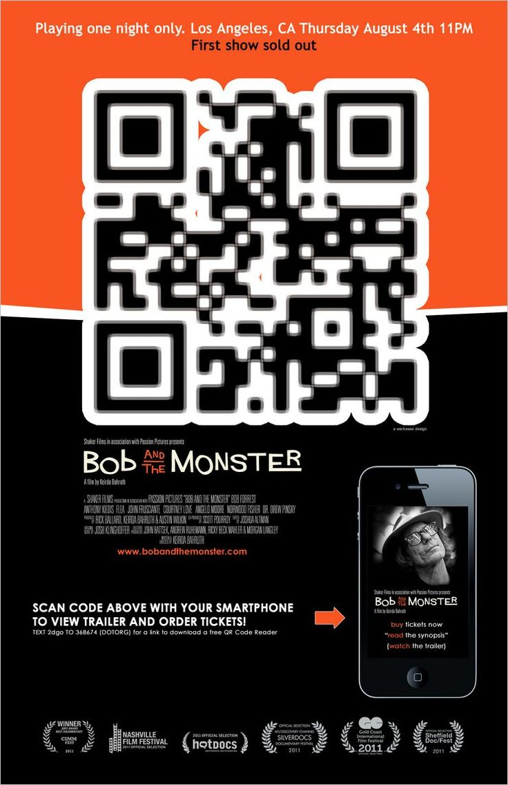 Poster design with qr code - A Night At The Movies Movie Poster With The Qr Code As The Main Focus Of The Advert Qr Codes Pinterest Qr Codes And Yearbooks