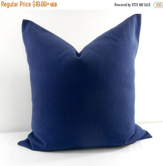 Navy Blue Pillow Cover. Blue solid color. by TwistedBobbinDesigns