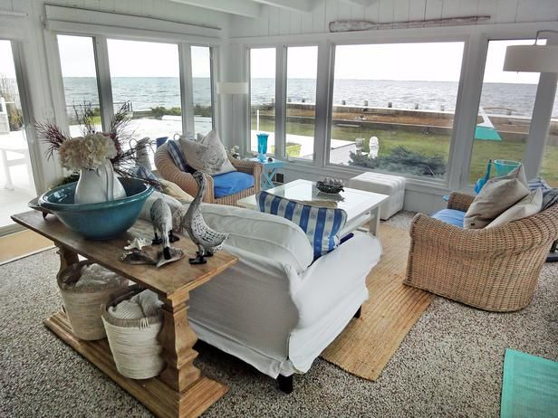 Staying with neutral shabby chic hues, this viewer mixed white, cream and blue to create a comfy space fit for sea dwellers. Stunning seashells, driftwood and starfish make perfect decor for a seaside retreat like this — just make sure you're up early enough to snag the prettiest ones from the shoreline.: Living Rooms, Beach House, Shabby Chic, Beach Style, Decorating Ideas, Ocean View, Beachhouse, Sunroom