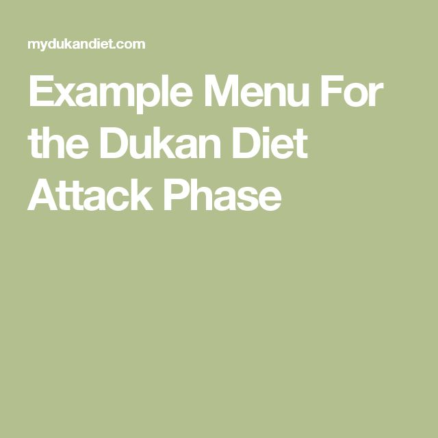 Example Menu For the Dukan Diet Attack Phase
