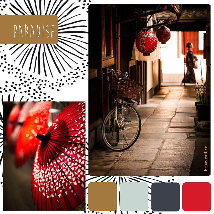 Une fin d'après-midi dans Tokyo, les fleurs, les vibrations du graphite, de l'hibiscus, de l'ocre brûlé : venez voyager dans notre nouvelle collection Paradise.