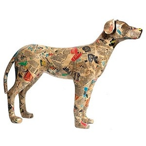 Decoupage art dog 350 paper mache animals example art for Making paper mache animals
