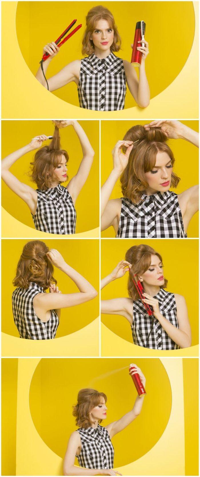 Idée Coiffure : Description un tuto coiffure cheveux courts pour un look rétro chic avec du volume sur le haut de la tête - #Coiffure https://madame.tn/beaute/coiffure/idee-coiffure-un-tuto-coiffure-cheveux-courts-pour-un-look-retro-chic-avec-du-volume-sur-le-h/