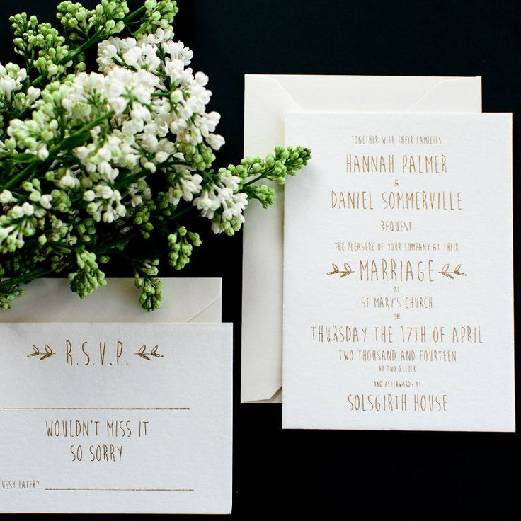 The dictionary defines 'whimsical' as spontaneously fanciful or playful, which we think is rather apt.Our standard colour foil for our Whimsical wedding stationery is gold. However we can change this to silver at no extra cost. Please note invitation price starts from £4.10, this is based on our cheapest unit when ordering 100.Our whimsical wedding stationery, gracefully balances a true sense of playfulness with a real feeling of luxury. Deeply printed with gold foil onto our thick ...