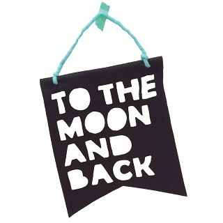 TO THE MOON & BACK BLACK BANNER - $25.00 - You will love this adorable handmade felt hanging flag 'to the moon and back'! Black is the next big thing in nurseries and kid's rooms so get your hands on one of these to create the perfect space for your little one. #sweetcreations #kids #baby #bedroom #nursery #decor #HomelyCreatures