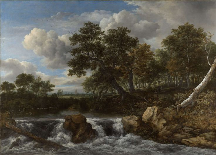 Landscape with Waterfall, Jacob Isaacksz. van Ruisdael, c. 1668 oil on canvas, h 142.5cm × w 196cm On display in Eregalerij While this image seems kind of dreary with the two treas down, I think the artist wanted to portray the image as romantic or peaceful.  I can almost hear the water running.
