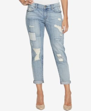 Jessica Simpson Juniors' Mika Embroidered Girlfriend Jeans - Blue 29