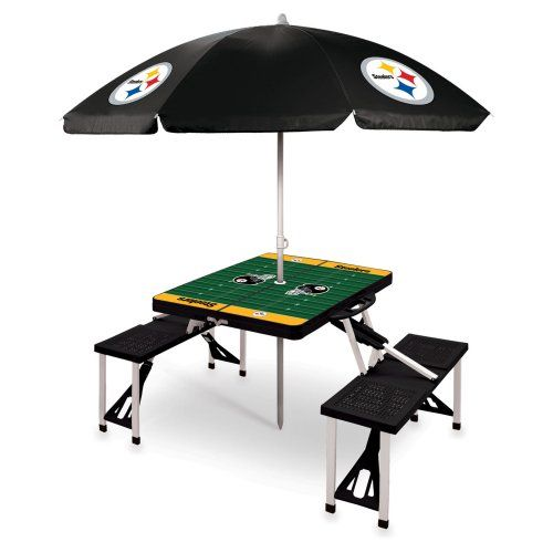 Picnic Time NFL Folding Picnic Table with Umbrella - Picnic Tables at Hayneedle